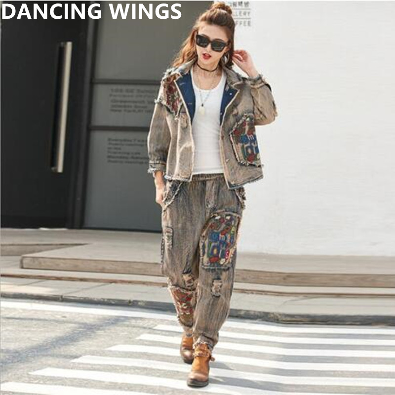 Korean Ladies Jeans Jackets Casual Pants Womens Denim Two Piece Sets Spring Tracksuit Woman Floral Clothes Outfits