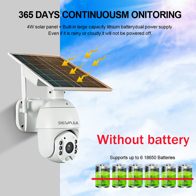 SHIWOJIA Camera 4G SIM Card 1080P HD Solar Panel Outdoor Monitoring CCTV Camera Smart Home Two-way Intrusion Alarm Long Standby 2