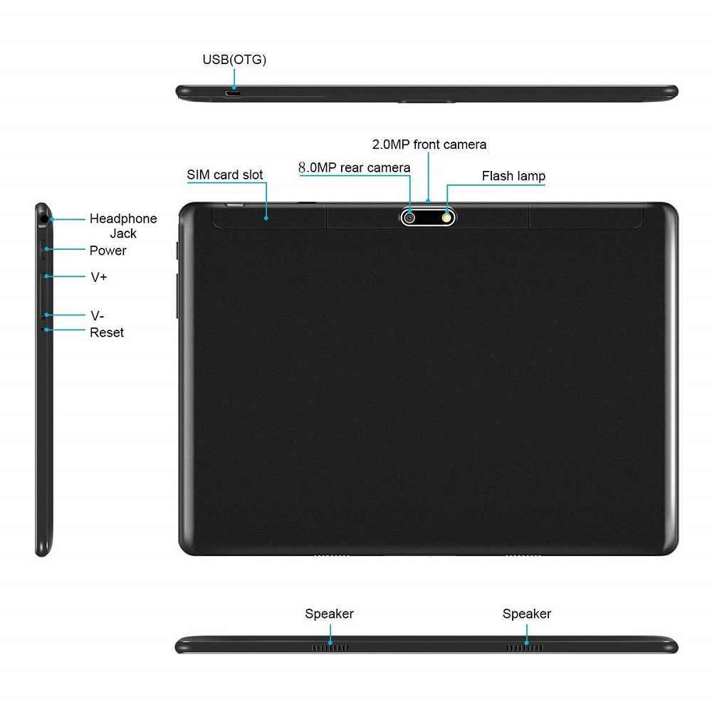 شحن مجاني أندرويد 9.0 ثماني النواة 10 بوصة اللوحي 6GB RAM 64GB ROM 8MP واي فاي A-GPS 4G LTE 2.5D الزجاج المقسى IPS 1280*800
