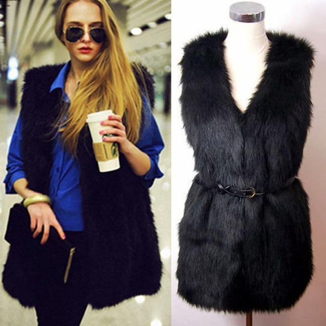 Fashion Women Faux Fur Sleeveless Vest Waistcoats 2018 Fluffy Casual V Neck Belt Slim Fur Coat Outwears Women's Vests