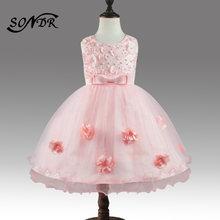 Платья для девочек с цветочной аппликацией ht189 платье на бретелях