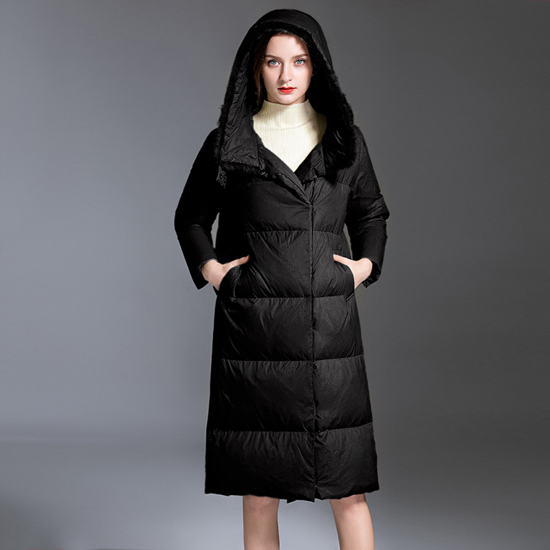 Shuchan   Down     Coats   Jackets Warm Woman   Down   Parka 90% White Duck   Down   Thick Wide-waisted Hooded Womens   Down     Coats   with Real Fur