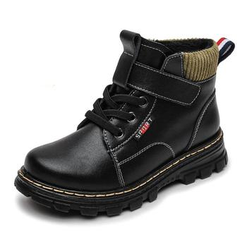 Fashion Winter Boots For Boys Children Shoes New Genuine Leather Kids Martin Boots Student Sneakers Plusl Warm Boys Snow Boots image