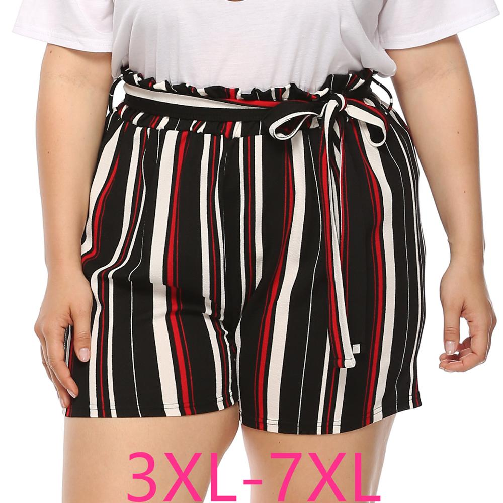 2020 New Summer Plus Size Shorts For Women Large Casual Loose Elastic Waist Stripe Sport Shorts Belt Black Red 4XL 5XL 6XL 7XL