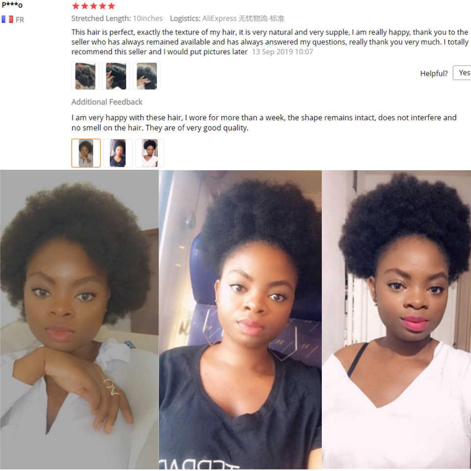 Afro Puff Drawstring Cola de Caballo para mujeres negras 6 8 10 pulgadas Afro rizado cabello humano Remy con 4 Clips de Peine Afro extensiones de Bollo