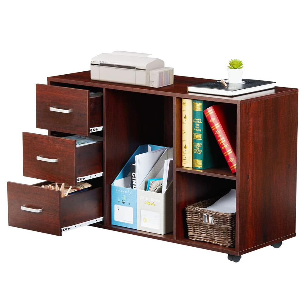 File Wood Cabinet Filing 3-Drawer Storage Printer Stand With Wheels, Open Storage Shelves For Home Office Study