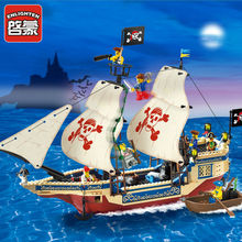 цены Enlighten 311 487PCS Pirate Series Pirate Ship Weapons Boat Legoingly Building Blocks Sets Christmas Bricks Gift For Boys Children