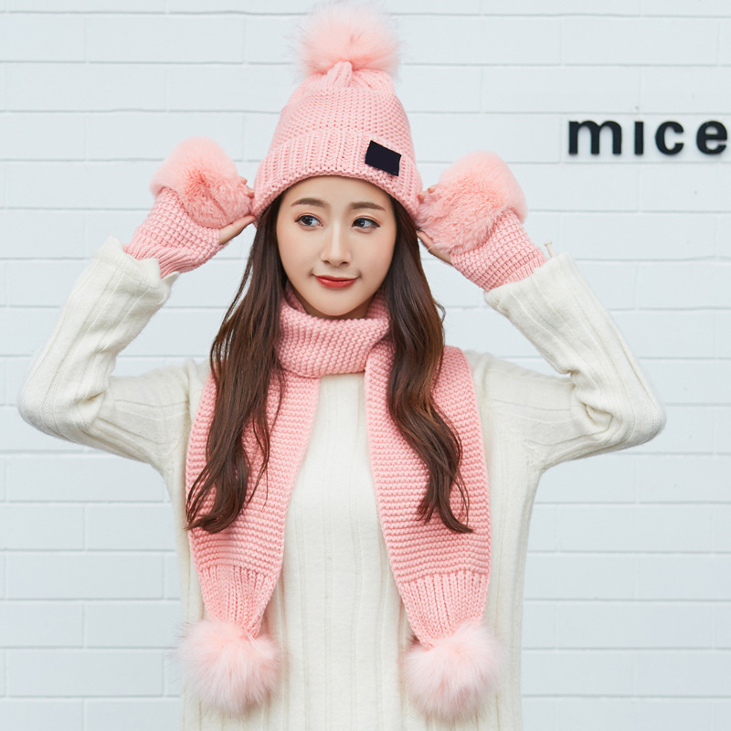Cute Women Knitted Hat Gloves Scarf Set Xmas Winter Warming Beanie Hat Half Finger Glove H9