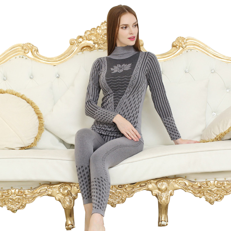 2019 New Fashion Printed Striped Women's Thermal Underwear Set Winter Turtleneck Cotton Long Johns Women Thermo Clothing Pajamas