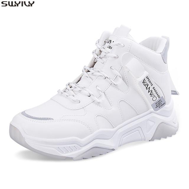 SWYIVY PU Chaussures Femme Chunky trampki dla kobiet obuwie 2020 wiosna wysokie góry kobiety białe buty oddychające buty damskie