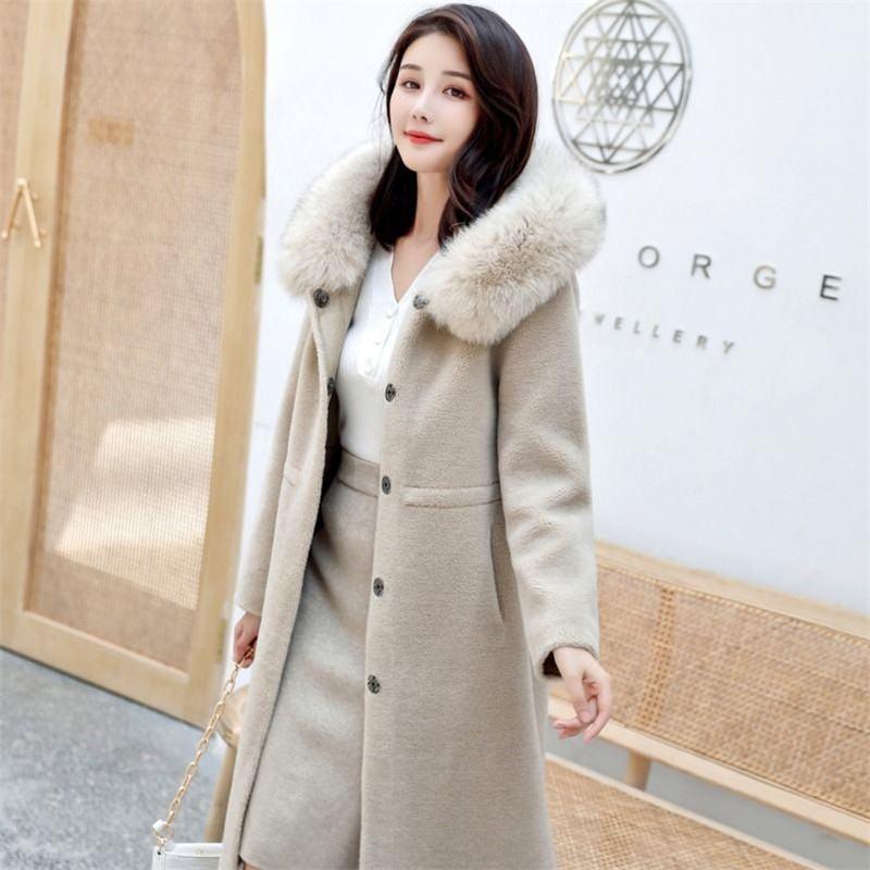 Women Autumn Winter Real Granular Sheep Shearing Long Overcoat Casual Wool Jacket With Genuine Fox Fur Collar Hooded Coats N106