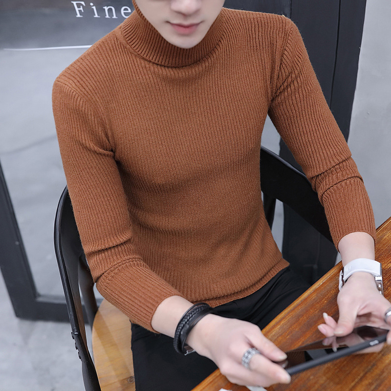 Simple Winter Thick Sweater Men Solid Warm Sweaters White Black Grey Brown Clothes S M Pullover Mens 2019 New Turtleneck Stripes