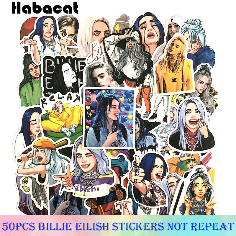50Pcs/Pack Billie Eilish Graffiti Stickers For Motorcycle Luggage Laptop Bicycle Skateboard Waterproof Pegatinas