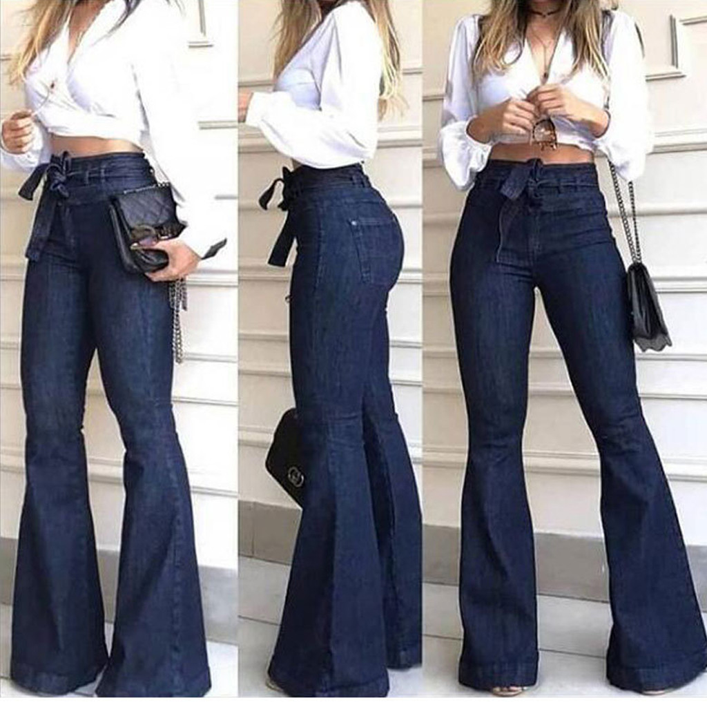 Fashion Jeans woman High Waisted Lacing Stretch Wide Leg Mom Bell-Bottomed Pants Boyfriend jeans for women Jeans Mujer S10