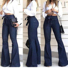 Fashion Jeans woman High Waisted Lacing Stretch Wide Leg Mom Bell-Bottomed Pants