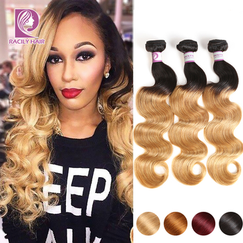 Racily Hair T1B/27 Ombre Brazilian Body Wave Hair Honey Blonde Ombre Human Hair Extensions 1/3/4 Bundles Remy Hair Weave Bundles 8a ombre brazilian body wave virgin hair 4 bundles blonde 1b burgundy human hair cheap short brazilian body wave bob hair weave