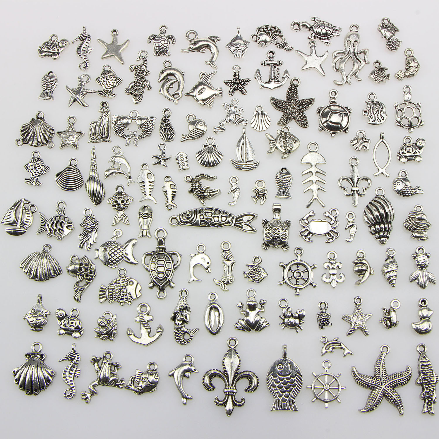 100Pcs Cute Fashion Decorative Alloy Marine Life Shape Mixed Pendant Charms DIY Toys Gifts Necklace Bracelet Making Crafting