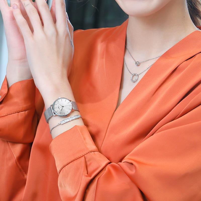 IBSO Women Quartz Watch Set Crystal Design Bracelet Necklace Watch Sets Female Jewelry Set Fashion Silver Set Watch Lady's Gift 6