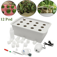 12 Holes Plant Site Hydroponic Garden Pots Planters System Indoor Garden Cabinet Box Grow Kit Bubble Nursery Pots