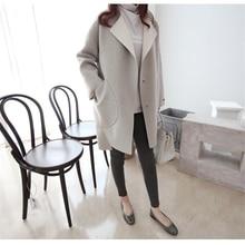 Beautiful Fashion Winter loose wool Jas Long pieces Lady Cocon Slim Warm Elegant