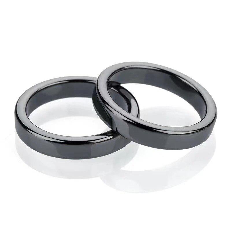 Кольцо из черного гематита с поглощением отрицательной энергии, Модные Винтажные гладкие парные кольца для подростков, девочек, мальчиков, ...