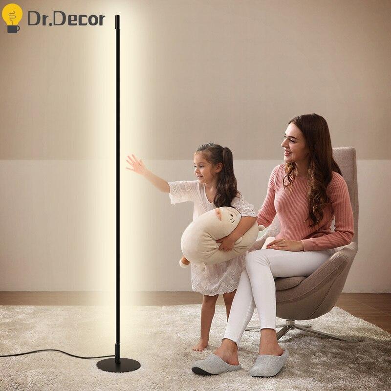 Modern Minimalist LED Floor Lamp Nordic Art Black Aluminum Lighting Free Standing Lamps For Living Room Decorative Floor Lights