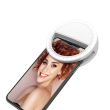 Selfie Ring Light 3 White Lighting Modes Rechargeable Clip-on 36 LED Mini Ring Lights Selfie Video Chat Photo for Smart Phone