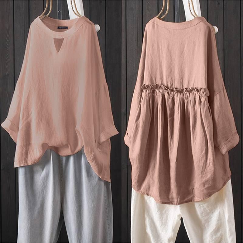 2019 ZANZEA Women's Pleated Blouse Casual Hollow Blusas Female 3/4 Sleeve Shirt Female Rullfe Tunic Plus Size Linen Tops Kaftan