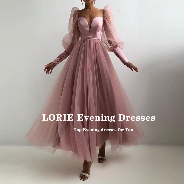 LORIE Dusty Pink Prom Gowns Sweetheart Puff Long Sleeves Tulle A-Line Arabic Evening Dress Wedding Party Dress for Graduation 2