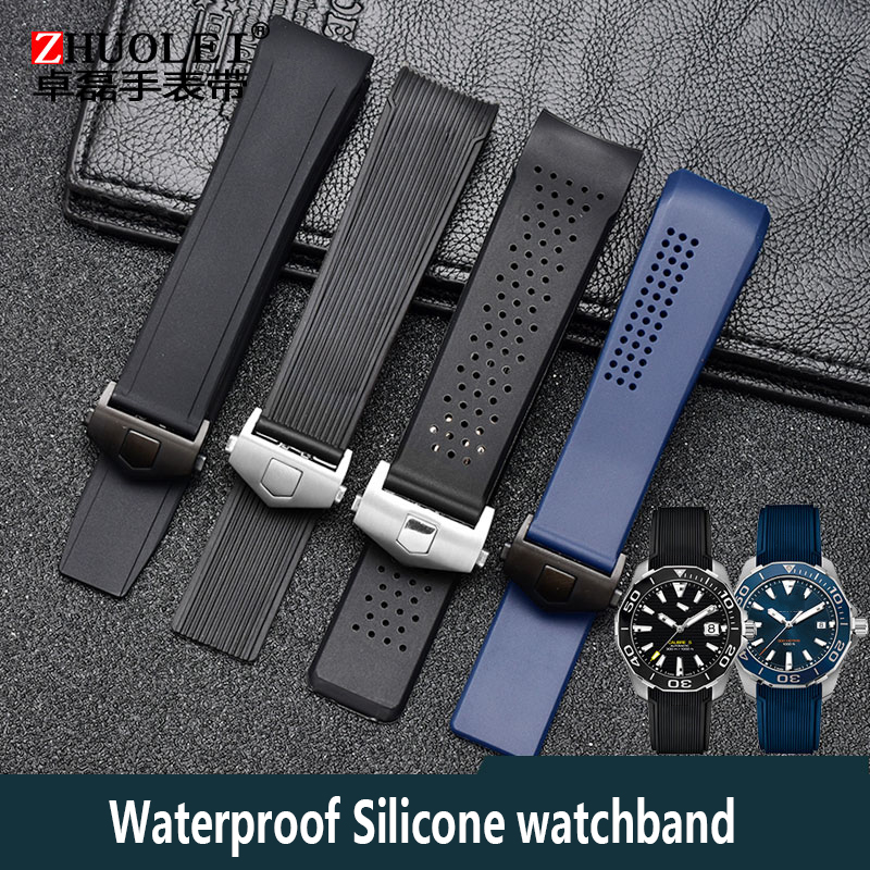 For Brand Watchband 20mm 21mm 22mm 24mm Black Blue Silicone Rubber Waterproof Soft Sports Watch Strap Wristwatches Band