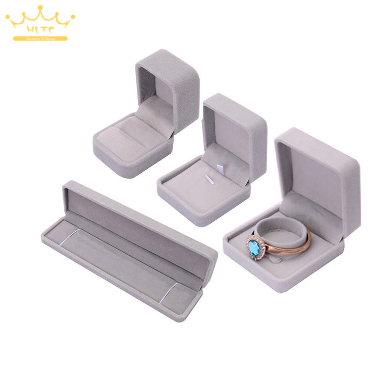 Grey Velvet Pendant Necklace Earrings Bracelet Jewelry Package Case Wedding Engagement Ring Box Organizer Storage Gift Box