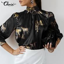 Blusas de cetim à moda das mulheres camisas de manga longa celmia 2021 outono gola casual solto tigre impresso elegante blusas 5xl