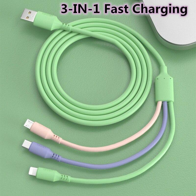 GESCHE 1 м 1,5 3in1 жидкий силикон для быстрой зарядки и передачи данных кабель Micro USB Тип C зарядное устройство для Huawei Xiaomi USB кабель