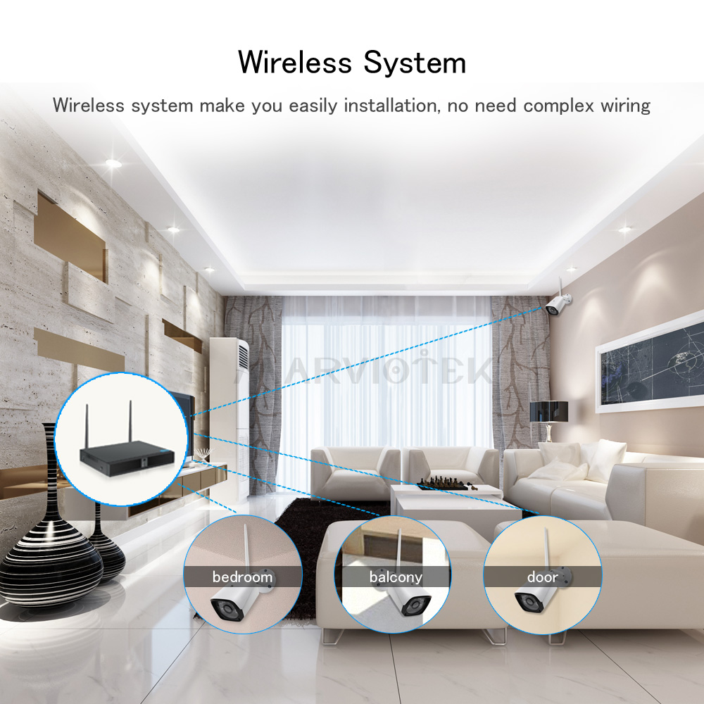 Image 5 - 4CH 1080P Wireless Home Security Camera System IP Camera WiFi DVR Kits CCTV camera System Outdoor Video Surveillance 4 camerasSurveillance System   -