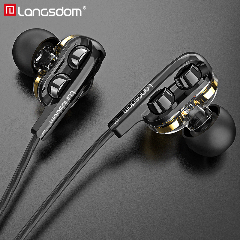 Langsdom D4C Wired Earphone Headphones with Microphone Dual Driver Phone Earphones Type C Ear Phones auriculares fone de ouvido