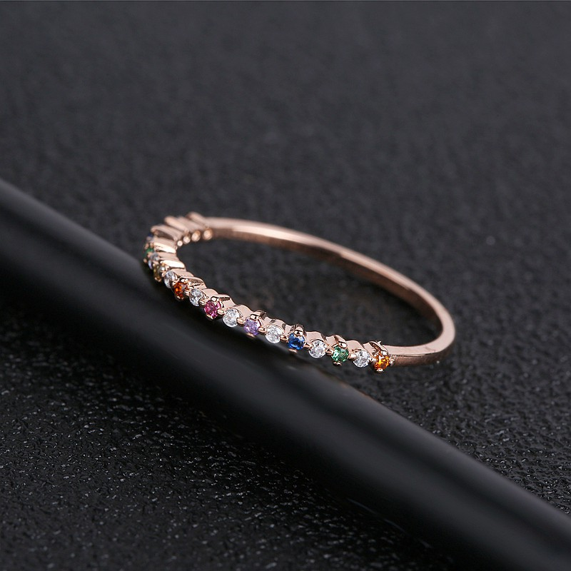 MIGGA Thin Style Multicolor Cubic Zircon Stone Ring for Women Rose Gold Color Fashion Finger Ring Jewelry
