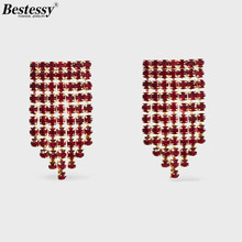 Bestessy Trendy Vintage ZA Crystal Gem Small Rhinestone Statement Earrings For Women Wedding Party Jewelry Accessories