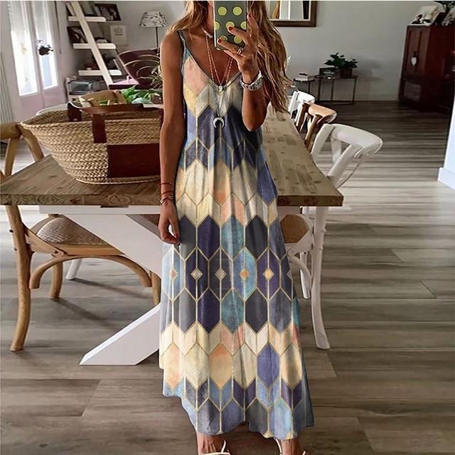 Women's Summer Casual Printed Camisole Long Dress Fashion Sexy Plus Size Dress Bohemian Dress 3
