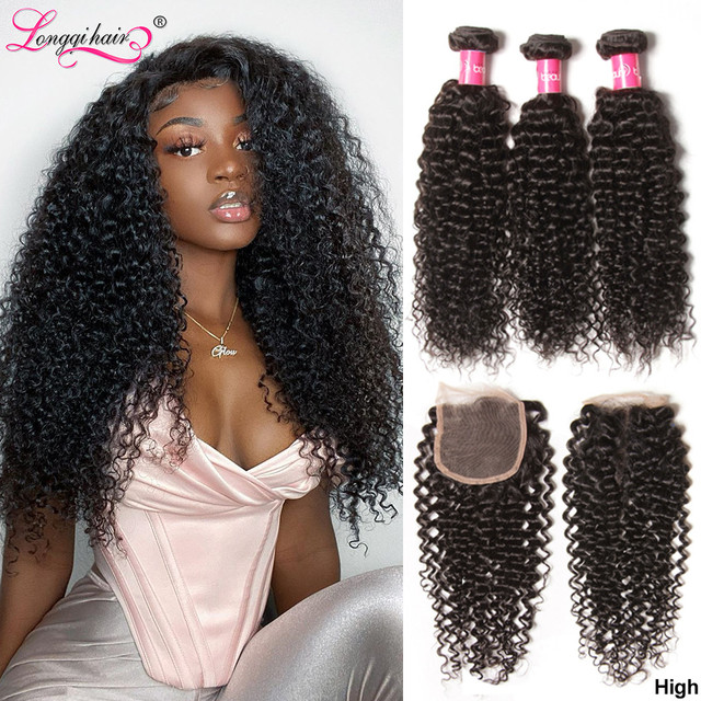 Top Sale Cambodian Curly Bundles with Closure Natural Color Remy Human Hair 3 Bundles with Closure Longqi Hair Vendors Fast Ship