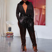 Sexy Deep V Neck Black Sequins Party Night Club Long Jumpsuit Oversized XL 5XL Plus Size Women Long Sleeve Jumpsuit Rompers