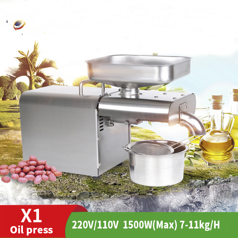 Fully Automatic 220V 20CM Trait 316 Stainless Steel Bored Oil Press Cold Press Cold Sunflower Oil Press Pure Copper Motor