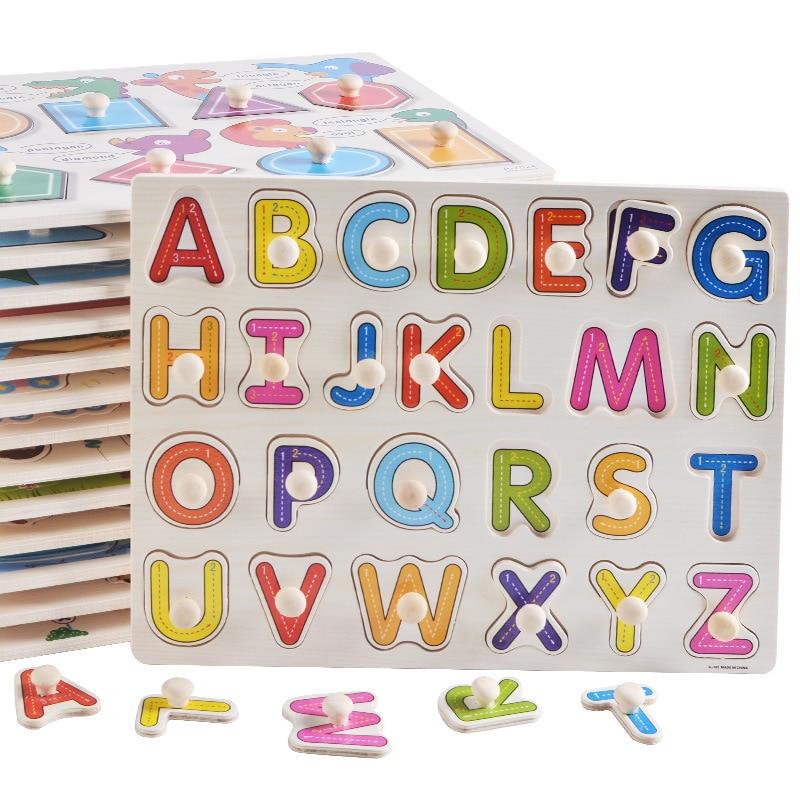 Детский деревянный пазл Монтессори, большой размер, набор для рукоделия, Обучающие игрушки, детские Мультяшные цифры, буквы, Математическая головоломка, детский подарок