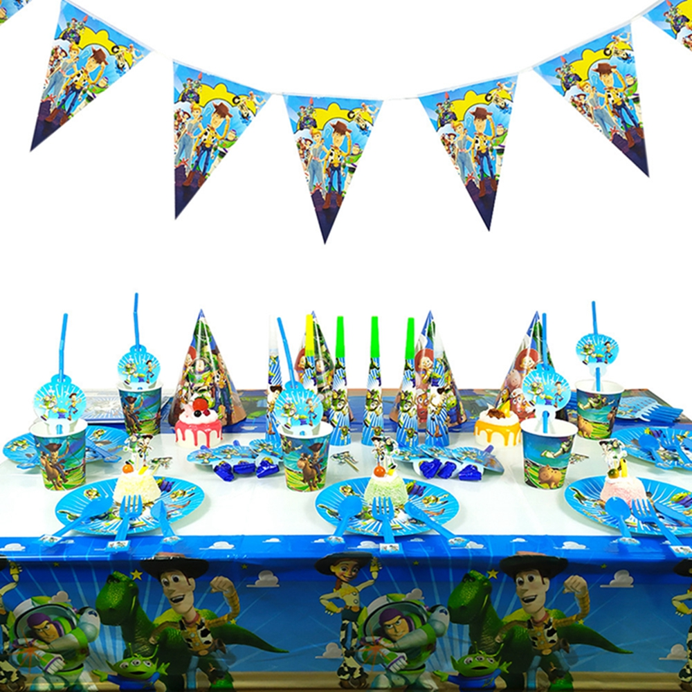New Cartoon Toy Story Disposable Paper Napkin Banner Tablecloth Straw Cup Tableware Baby Shower Birthday Party Decoration