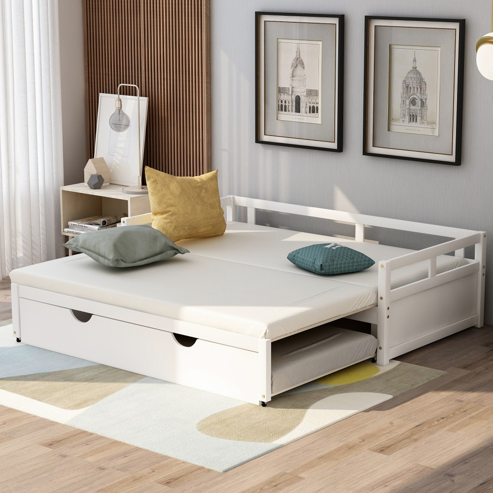 1 (17)-Extending Daybed with Trundle, Wooden Daybed with Trundle, White