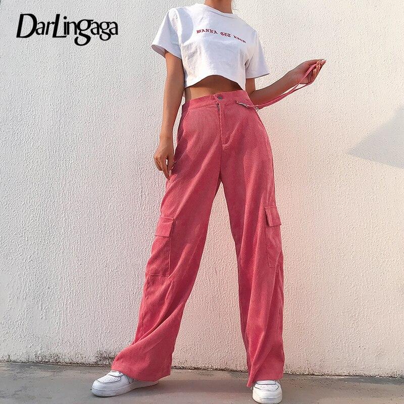 Darlingaga Autumn Fashion Straight Pink Corduroy Pants Sweatpants Women's Trousers Baggy High Waist Pants Pockets Casual Capri