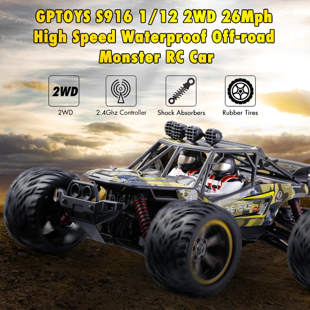 New GPTOYS S916 RC Cars Remote Control Truck 1/12 Scale 2.4 GHz 2WD Waterproof Off-road Monster Car Best Gifts For Kids Adults