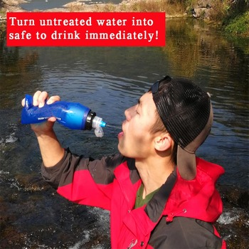Outdoor Survival Personal Camping Softflask Life Collapsible Water Filter 600ML Portable Foldable Filtered Water Purifier Bottle 2