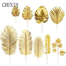 Gold Artificial Monstera Palm Maple Tree Leaves Home Garden Decoration wedding Photography Prop Flower Arrangement Accessories