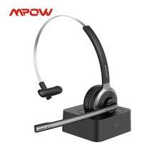 Mpow-auriculares inalámbricos M5 Pro con Bluetooth V5.0, dispositivo de audio con cancelación de ruido, micrófono, Base de carga para PC, portátil, oficina, Skype