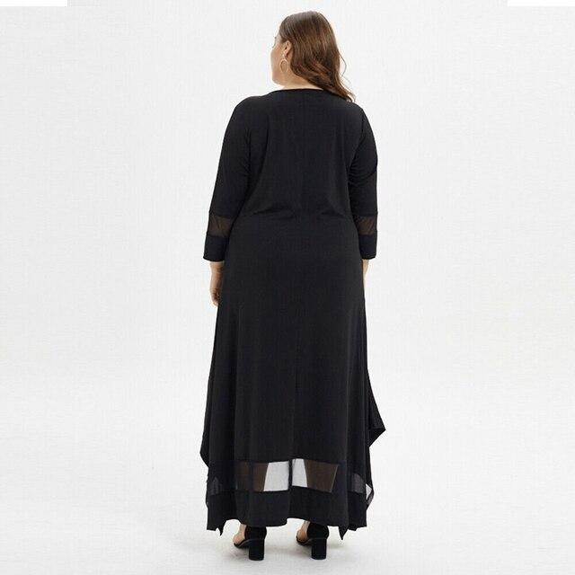 Talla grande 4XL 5XL 7XL 8XL busto 132 vestido de talla grande para mujer Otoño e Invierno cuello redondo manga larga bata negra con costura suelta